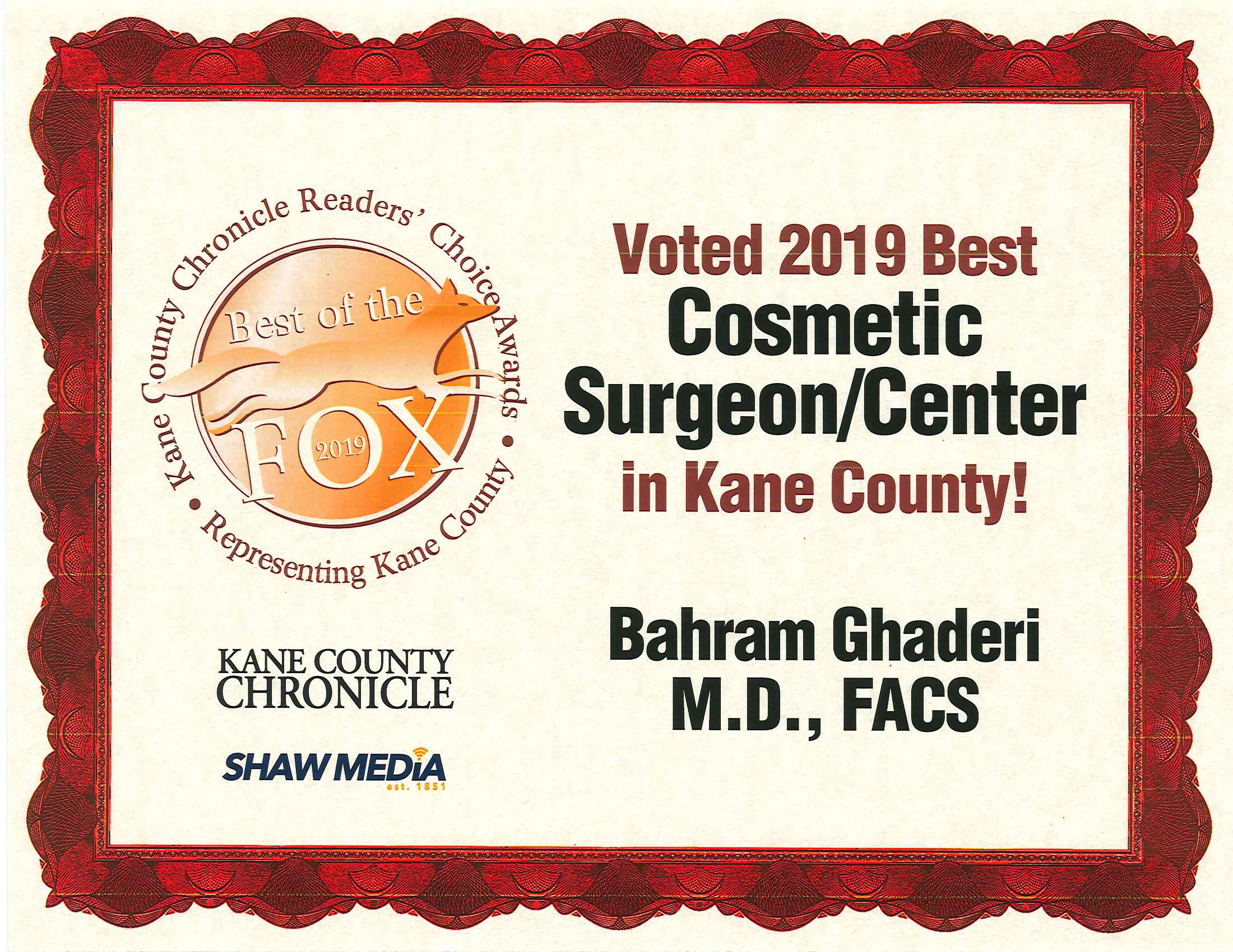 2019 Bahram Ghaderi Plastic Surgeon Voted Kane County Best Cosmetic Surgeon